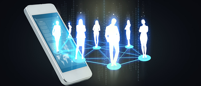 business and technology concept - smartphone with social or business network